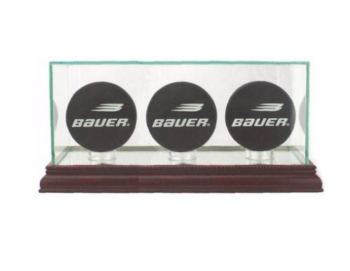 HOCKEY TRIPLE PUCK DISPLAY CASE